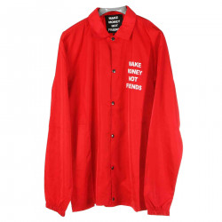 RED JACKET WITH PRINTED LOGO