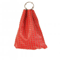 RED LEATHER BAG WITH MINI STUDS