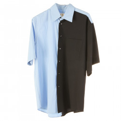 LIGHT BLUE AND BLACK SHIRT WITH BREAST POCKET