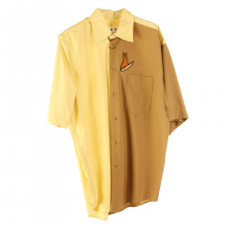 YELLOW AND CAMEL SHIRT WITH BREAST POCKET