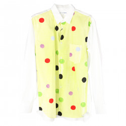 WHITE AND GREEN SHIRT WITH MULTICOLOR POLKA DOTS