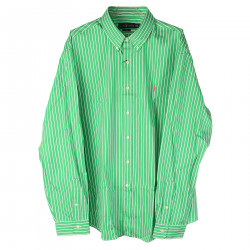 GREEN AND WHITE SLIM FIT SHIRT