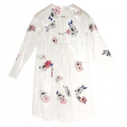 WATERPROOF WITH EMBROIDERED FLOWERS