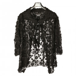 BLACK EMBROIDERED OVERCOAT