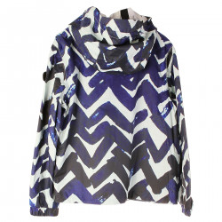 PURPLE AND WHITE JACKET WITH HOOD
