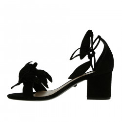 BLACK SUEDE SANDAL WITH FLOWER