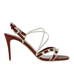 RED AND WHITE SANDAL WITH STUDS