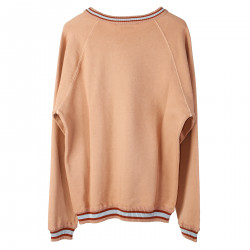 POWDER PINK SWEATSHIRT WITH RIBBED EDGES