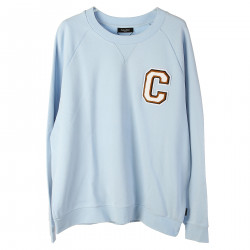 SKY BLUE SWEATSHIRT WITH PATCHED LOGO