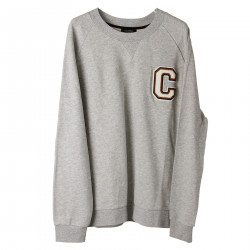 GREY SWEATSHIRT WITH PATCHED LOGO