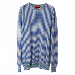 WHITE AND BLUE STRIPED PULLOVER