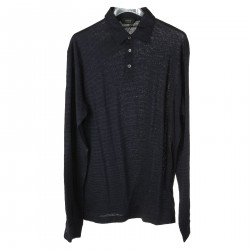 BLACK AND BLUE STRIPED POLO