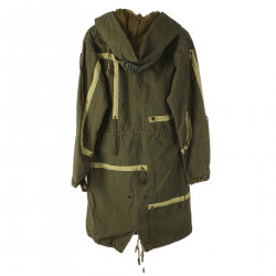 MILITARY GREEN PARKA WITH DRAWSTRING