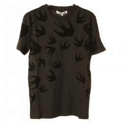 BLACK T SHIRT WITH SWALLOWS FANTASY