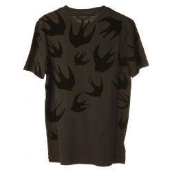 BLACK T SHIRT WITH SWALLOWS FANTASY