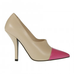 BEIGE AND FUXIA DECOLLETE