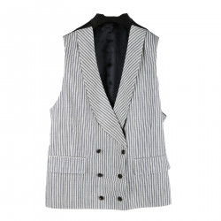 WHITE AND BLUE STRIPED VEST