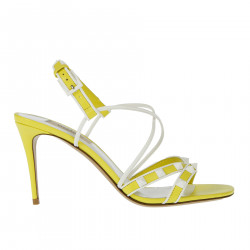 WHITE AND YELLOW SANDAL WITH STUDS