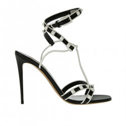 BLACK AND WHITE SANDAL WITH STUDS