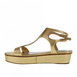 GOLDEN LEATHER WEDGE