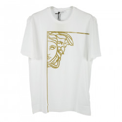 WHITE T SHIRT WITH GOLDEN PRINT