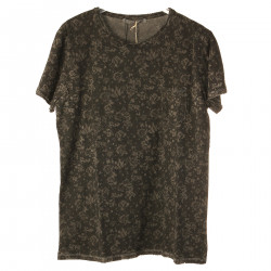 DARK GREY FLORAL T SHIRT