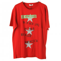 T SHIRT ROSSA CON STAMPA
