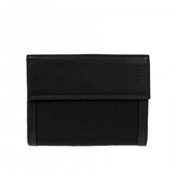 BLACK WALLET WITH LEATHER INSERTS