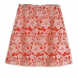 RED SKIRT WITH LACE