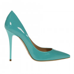 GREEN PATENT LEATHER DECOLLETE