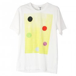 WHITE T SHIRT WITH PRINTED DOTS