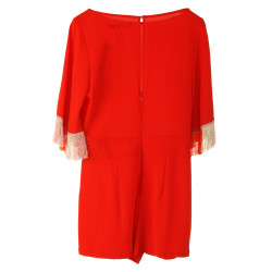 RED JUMPSUITE WITH FRINGES