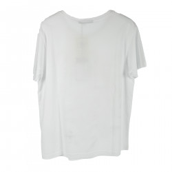 PRINTED WHITE T SHIRT WITH APPLICATIONS