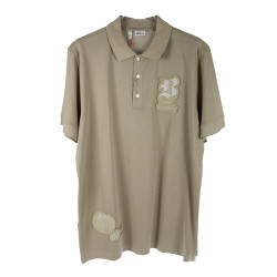 BEIGE POLO SHIRT WITH PATCH