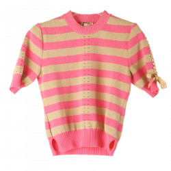 PINK AND BEIGE STRIPED SWEATER