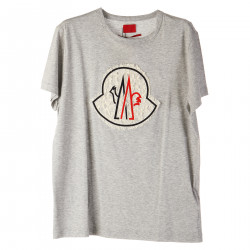 T SHIRT GRIGIA CON LOGO IN PIZZO