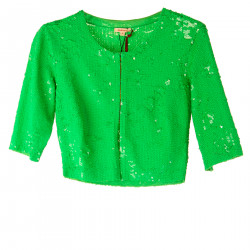 GREEN CARDIGAN WITH PAILLETTES