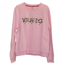 PINK SWEATSHIRT WITH FLORAL LOGO