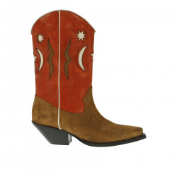 BROWN AND RED LOW BOOT