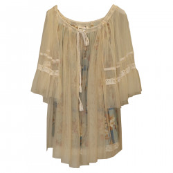 BLUSA BEIGE IN TULLE