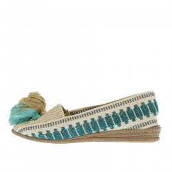 BEIGE AND GREEN ESPADRILLAS