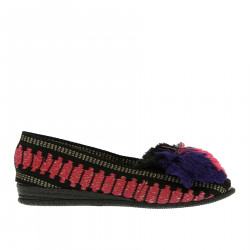 BLACK ESPADRILLAS WITH BLACK PINK AND VIOLET POMPON
