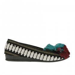 BLACK AND WHITE ESPADRILLAS WITH GREEN RED AND BLUE PON PON