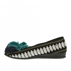 BLACK AND WHITE FLAT SHOE WITH GREEN RED AND BLUE PON PON
