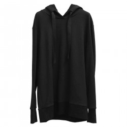 BLACK LONG SWEATSHIRT WITH HOOD