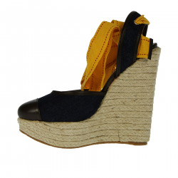 BLUE AND BROWN WEDGE SHOE WITH YELLOW LACES