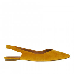 YELLOW SUEDE FLAT SHOE