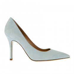 LIGHT BLUE SUEDE DECOLLETE