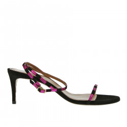 BLACK AND FUXIA LEATHER SANDAL