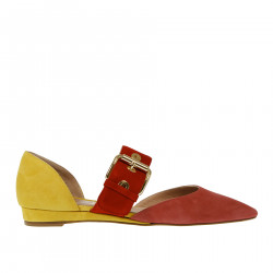 RED AND YELLOW SUEDE SANDAL